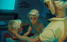 Fanart by nuclearcarrots. Dave Strider and Dirk (Bro) Strider from Homestuck.