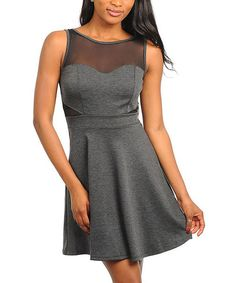 Take a look at this 24|7 Frenzy Gray Sheer Panel Sleeveless Dress on zulily today!
