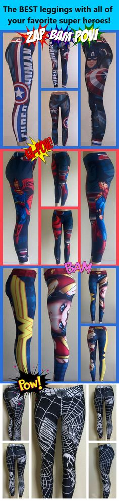 Incredible leggings and yoga pants with your favorite super heroes Superman, Spider-Man, Batman, Wonder Woman, The Hulk, Wolverine, Captain America, Deadpool and more!