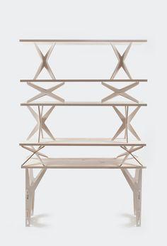 Lesha Galkin, modular shelving unit, incorporating plywood & pine wood, http://www.behance.net/gallery/Modular-Shelving/4516725