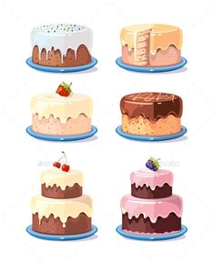 Buy Cream Cake Tasty Cakes Vector Set In Cartoon Style by MicrovOne on GraphicRiver. Cream cake tasty cakes vector set in cartoon style. Birthday cake with chocolate and fruits illustration Cake Illustration, Food Illustrations, Cute Food Drawings, Cake Drawing, Cake Vector, Cake Logo, Food Icons, Cute Cakes, Cream Cake