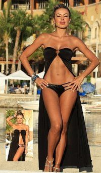 cf8aade101 Sexy Black Swimwear Bikini Cover up Dress Beach Covers