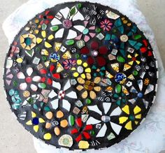 "18"" ""Wildflowers"" mosaic table top"