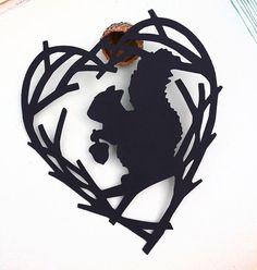 Sale Hand Cut Paper Silhouette Art Squirrel Acorn by CaryCanary, $10.00