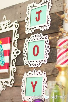 Do-It-Yourself Framed JOY Christmas Decor Letter Art