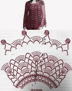 Discover thousands of images about Ponchos y Capas circulares en Crochet, con patrones. Col Crochet, Bonnet Crochet, Crochet Cape, Crochet Poncho Patterns, Crochet Collar, Crochet Diagram, Crochet Blouse, Crochet Scarves, Crochet Motif