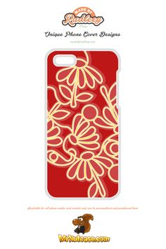 An Alternative Floral Design on Red phone case available for all phone makes and models and can be personalised and purchased from www.mrnutcase.com