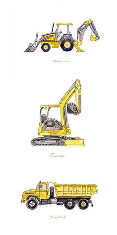 Excavator Backhoe construction watercolor print, Construction equipment art prints for the big boy room - builders and diggers, yellow machines :) Big Boy Bedrooms, Baby Boy Rooms, Kids Bedroom, Baby Room, Construction Bedroom, Construction Manager, Kids Boy, Yellow Art, Little Boys