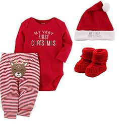 Carter's Baby My First Christmas 4 Piece Set with Hat and Booties Unisex – Christmas Ideas Baby's First Christmas Outfit, Boys Christmas Outfits, Baby Girl Christmas, Christmas Baby Clothes, Newborn Christmas Outfit Boy, Christmas Hat, Holiday Outfits, Baby Outfits Newborn, Baby Boy Outfits