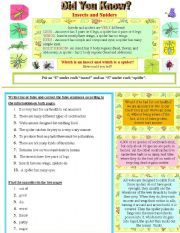 Did you know? Insects and Spiders - ESL worksheet by moma Vocabulary Exercises, Vocabulary Worksheets, List Of Insects, Insects Names, Moma, Reading Comprehension, Spiders, Esl, Teaching Kids
