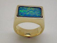 18k yellow gold with a nice piece of inlaid Opal. Steve Kriechbaum // skriechbaum.com