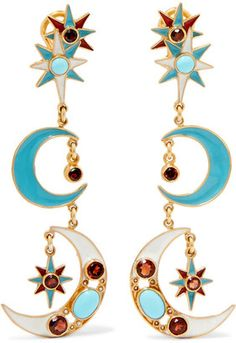 Shop Now - > https://api.shopstyle.com/action/apiVisitRetailer?id=643977545&pid=uid6996-25233114-59 Percossi Papi - Gold-plated Multi-stone Earrings ...