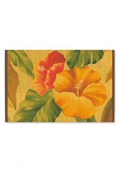 """Vintage Hibiscus Bamboo Placemat by Tikimaster. $6.59. A beautiful Hawaiian product, this elegant Vintage Hibiscus Bamboo Placemat is made of sturdy bamboo and will bring island style to any dining table. Seeing this on your table will take you back to your time spent in paradise. Wipe with a damp cloth to clean. Measures approximately 11-4/5"""" x 17-3/4"""" W."""