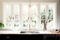 Big window in a kitchen over the sink