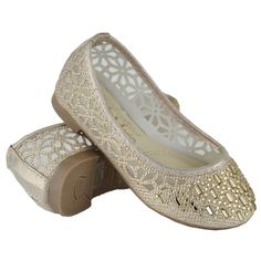 Kids Ballet Flats Lace Mesh Rhinestone Accent Casual Slip On Shoes Gold Ballet Kids, Casual Slip On Shoes, Gold Ballet Flats, Girls Flats, Tory Burch Flats, Lace, Floral, Mesh, Tips