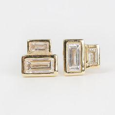 Baguette diamond earrings with recycled diamonds by AnuevaJewelry_ Minimalist Jewelry