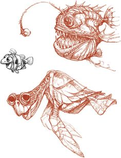 Character design, Finding Nemo  Peter De Seve Find more at https://www.facebook.com/CharacterDesignReferences if you ar looking for: #art #character #design #model #sheet #illustration #best #concept #animation #drawing #archive #library #reference #anatomy #traditional #draw #development #artist #animal #animals #fish