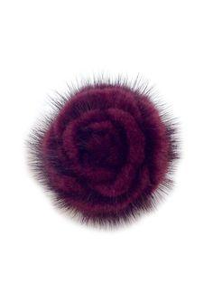 Merlot Mink Fur Flower Brooch (Pin)
