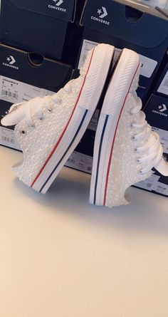 Custom Pearl Converse Chucks | Etsy Red Chucks, Converse Chuck Taylor, Compliments, High Top Sneakers, Design Inspiration, Pairs, Etsy, Boots, Fashion