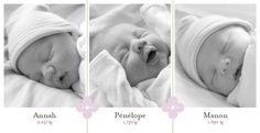 Faire-part de naissance(baby announcement): Triplés - by Tomoë pour http://www.fairepartnaissance.fr #naissance #faire #part #birth