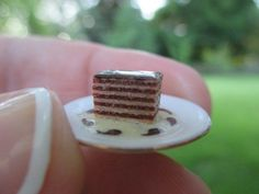 Dollhouse Miniatures ~ The English Kitchen ~ Piece of 5 Layer Chocolate Cake ~