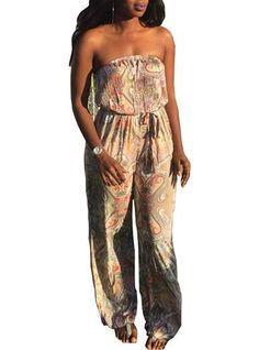 c82464c8491 Women s Loose Fitting Jumpsuit - Sleeveless   Bohemian Printed   Sash Tie