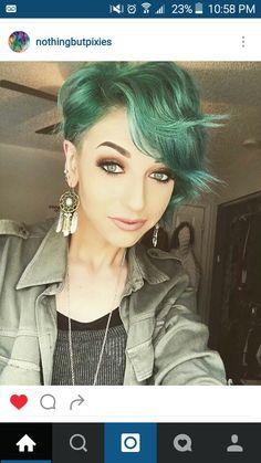 Green wavy pixie cut