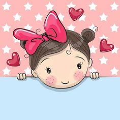 Illustration about Greeting card cute Cartoon Girl is holding a placard on a stars background. Illustration of child, greeting, image - 78661029 Cartoon Cartoon, Cute Cartoon Girl, Cartoon Mignon, Girl Clipart, Star Background, Baby Blog, Cute Images, Cute Drawings, Cute Kids