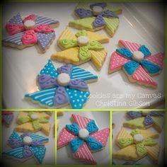 Pinwheel Cookies, by cookieart by Christina, multi, polka dot, stripes Pinwheel Cake, Pinwheel Sugar Cookies, Galletas Cookies, Cute Cookies, Baby Shower At Restaurant, Cookie Designs, Cookie Ideas, Cookie Tutorials, Summer Cookies