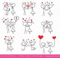 Palillo figura día de San Valentín Clipart pareja por TeoldDesign