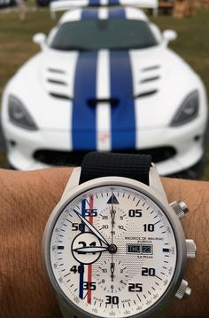 Maurice de Mauriac Le Mans racing watch and a Dodge Viper, both with stripes. Luxury hand-made watches for men and women.