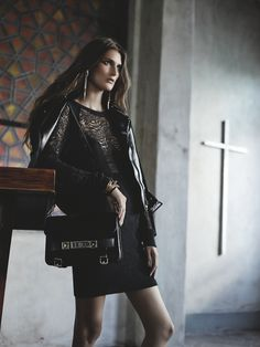 The contrast of the dress w/ that jacket, and that bag. - Marie Piovesan Models Dark Romance for Forward by Elyse Walker Shoot