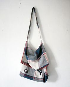 besace en lin grands carreaux  small squares of linen bag