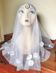 Annabel White Italian Tulle Veil with embroidered by empireroom, $130.00