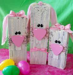 Wooden Bunnies - Crafting day with my friends is coming up.. We are going to make these.. Makes me Bunny Jumping Happy!!!