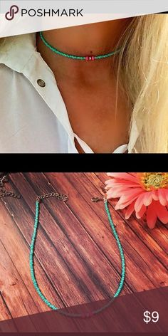 turquoise beaded choker, BoHo necklace,choker This is 12 inches with a 3 inch extender made with turquoise seed beads, hot pink rondell beads, crystal in the middle, handmade, new Kathy netto designs Jewelry Necklaces