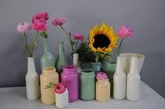Spray painted glass containers.