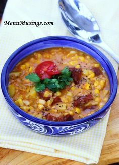 """Cajun Corn Chowder - This recipe requires very little actual """"skills"""" in the kitchen, yet tastes like you spent hours making it.  The soup is wonderfully textured, sweet from the corn, smoky from the spiced ham and warms you up from the inside. Step-by-step photo tutorial."""