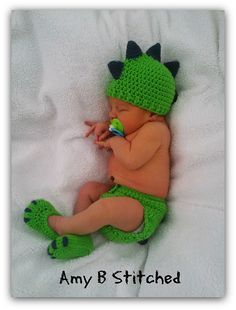 Ravelry: Dinosaur Baby Hat and Diaper Cover Set pattern by Amy B Stitched