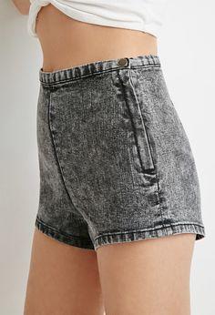 Acid Wash Flat-Front Shorts
