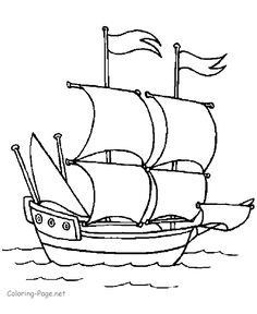 Boat coloring book pages - Columbus's ship