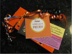 """**PLEASE REPIN**  Day 42 of 365 Days of Kindness - I challenge everyone to give someone a box or bag of Reese's Pieces that says """"Jesus LOVES you to pieces"""" You can print the Jesus Loves you to pieces tags on the blog (pdf form). I put a 365 Days of Kindness card inside so the person receiving it can pass it on - (YOU CAN PRINT THE CARDS also on the blog).  Who's in??"""