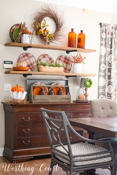 Rustic farmhouse open shelves decorated for fall    Worthing Court #falldecorations #fall #plaid