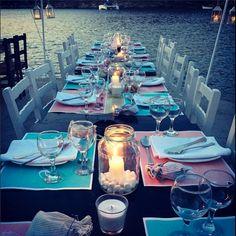 seaside wedding set up #kythnos #greece #destinationweddings