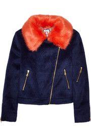 ShrimpsAgnes faux fur-trimmed brushed-felt biker jacket