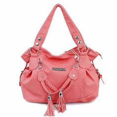 Casual Tassels and Solid Color Design Women's Shoulder Bag