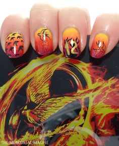 The Mercurial Magpie - Nail Art - The Hunger Games - Catching Fire