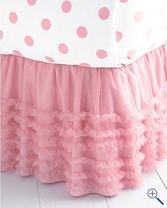 tulle bedskirt - would also be great for a table skirt for a ballerina birthday Tulle Bedskirt, Curtains, Bedding Basics, Pink Bedding, Pink Tulle, Everything Pink, Little Girl Rooms, Pink Love, Girls Bedroom