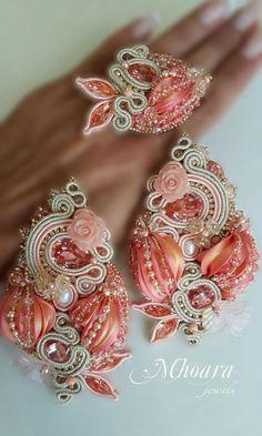 Shibori silk and soutache designed by Mhoara Jewels