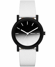DKNY Women's Soho White Saffiano Leather strap Watch 34mm NY2185